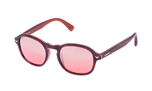 Police Master 1 Gafas de sol, MATT BURGUNDY WOOD EFFECT & DARK ORANGE FRAME/LIGHT RED/SILVER MIRROR LENS, 50 Unisex