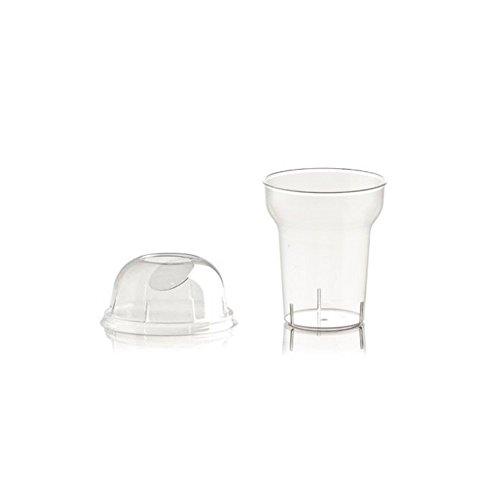 Lot de 100 gobelets pour granitas de 250 ml en plastique transparent + couvercles, pour granitas, smoothies, frappés, hauteur 9,5 cm, diamètre 8 cm