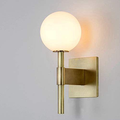 Glass Ball Wall Sconce, Satin Brass with Frosted Glass, Globe Wall Light Fixtures for Restaurant, Living Room, Bathroom Mirror Headlights Bedside in Gold Color (1 Light)
