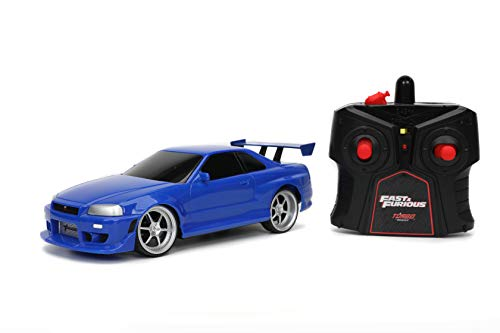 Jada Toys Fast & Furious 1:24 2002 Nissan GT-R R34 Blue Remote Control Car RC with 2.4GHz, Toys for Kids and Adults (31369)