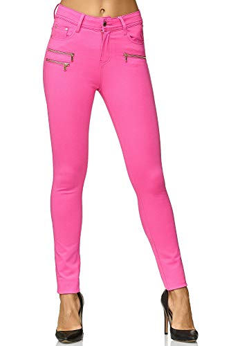 Elara Damen Stretch Hose Skinny Fit Jegging Chunkyrayan H86-27 Pink 42 (XL)