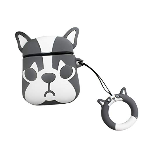 Cute Bulldog AirPods Case Soft Silicone Cover with Ring Buckle for Apple Airpods 2 & 1 Charging Case