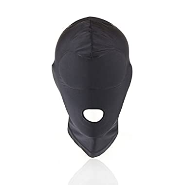 HOT TIME Black Breathable Face Cover Spandex Zentai Costume Hood Mask (Open Mouth)