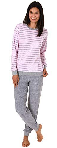 RELAX by Normann Damen Frottee Pyjama Langarm mit Bündchen in edler Streifenoptik - 291 201 13 780, Farbe:rosa, Größe:44/46