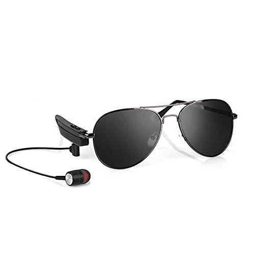 Gafas de Sol Montura metálica en la Oreja Auriculares compatibles con Bluetooth con micrófono Deporte Llamadas Inteligentes Gafas de Sol para desplazamientos Diarios Conducción Caminando