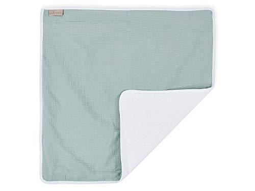 KraftKids Wickeltischunterlage Musselin mint, Windelmatte aus 100% Baumwolle, wasserundurchlässige Reise-Wickelunterlage