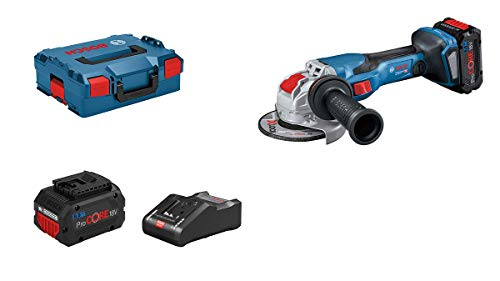 Bosch Professional BITURBO Winkelschleifer GWX 18V-15 C (Scheiben-Ø 125mm, X-LOCK-Aufnahme, inkl. 2x5.5 Ah ProCORE18V Akkus + Ladegerät, L-BOXX 136)