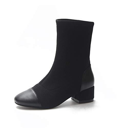 Shukun enkellaarsjes lente en herfst enkele laarzen met dikke en elastische doek dunne laarzen ronde kop vrouwen korte laarzen casual sokken laarzen vrouwen