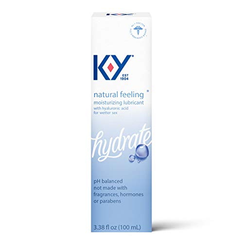 K-Y Natural Feeling Personal Lubricant with Hyaluronic Acid, 3.38 fl oz, Safe to Use with Latex Condoms, Moisturizing Water Based Formula Free from Fragrances, Parabens or Hormones