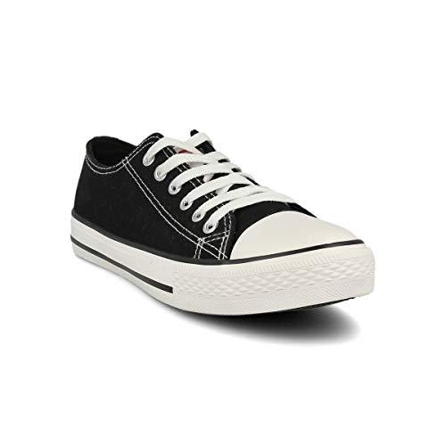 PAYMA - Zapatillas Bambas Botas de Lona Mujer. Puntera de Goma. Playeras de Deporte Casual y Caminar. Color: Negro Bajas Piso Sencillo. Talla 41