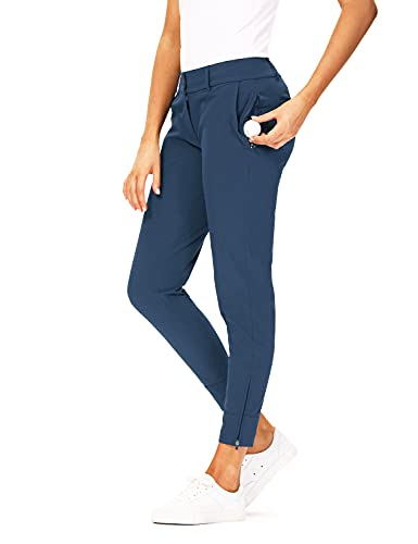 Hiverlay Womens pro Golf Pants Quick Dry Slim Lightweight Work Pants with Straight Ankle Also for Hiking or Casual Ladies,Blue-L
