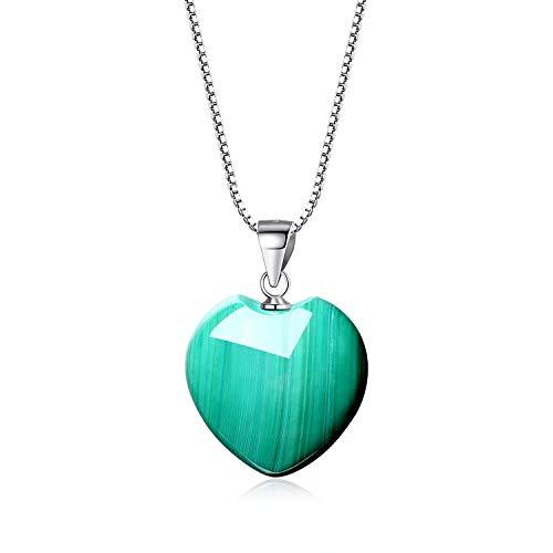coai Geschenkideen Damen 925 Sterling Silber Glückskette mit Herz Anhänger Liebe Anhänger aus Malachit Amulett Edelstein Halskette