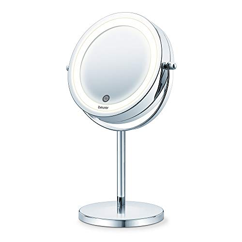 Beurer BS 55 Espejo maquillaje con luz, luz LED brillante (18 LEDs), espejo pivotante, encendido con sensor táctil, 1 cara con vista normal, 1 cara con vista de aumento (x7), acabados cromados