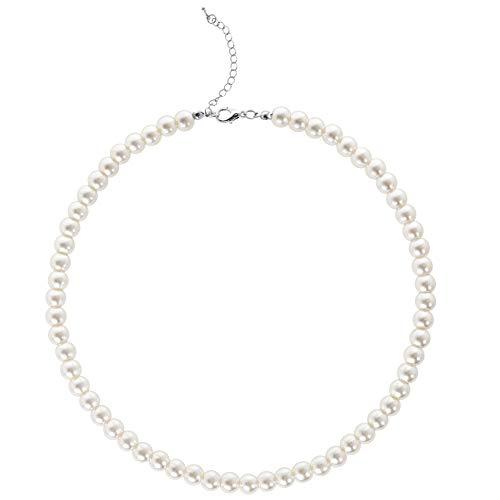 BABEYOND Collana Perle Charleston Accessori Charleston Collana Perle Anni 20 Collana Donna Gatsby Collana di Perle Sposa Collana Perle Donna Bianco (Diametro della perla: 8 mm)