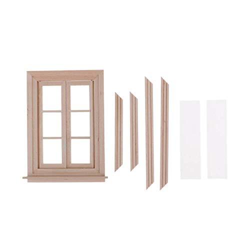 Moligh doll 1:12 Puppenhaus Miniatur Doppel Fenster Holz 6 Scheiben Rahmen und Glas Platte Puppen Haus DIY Doppel Fenster Zubeh?r für Puppen Haus Dekoration