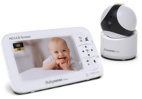 "Babysense Video Baby Monitor - 720P HD Infant Monitor with PTZ Security Camera & Large 5"" Display – Two-Way Talk-Back Audio, Zoom, Long Range, Night Vision, Secure Hack-Free Baby Monitor Camera"