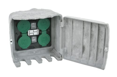 BOLD Enchufe exterior para jardín, aspecto de piedra, con 4 enchufes y sensor crepuscular (resistente al agua IP44, material reforzado, hasta 3680 W, cable de 3 m, montaje mediante pincho o tornillos)