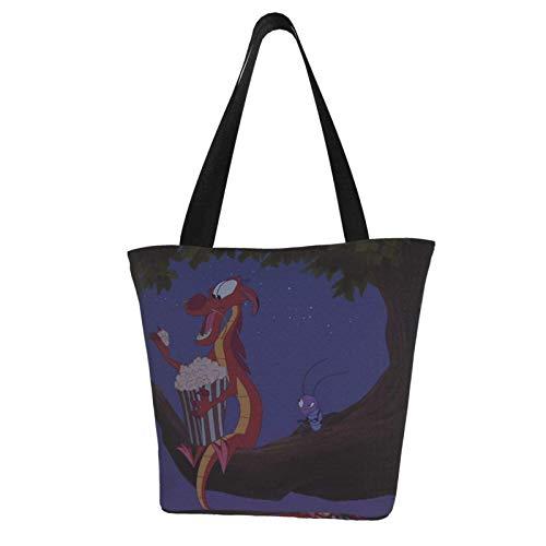Hua Mulan Tragetasche- Damen Schulterhandtaschen Große Kapazität Einkaufstasche Canvas Handtaschen Casual Damen für Einkaufen Geldbörse Portable Webbing ist stark und langlebig