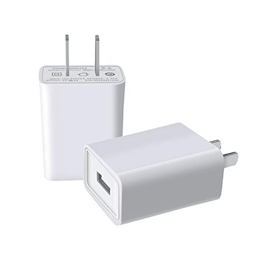 USB Wall Charger FOBSUNLAND. USB Wall Plug 5V 2.1A AC Power Adapter Compatible with iPhone,Pad,Samsung,Tablet,Kindle and More (White 2pack)