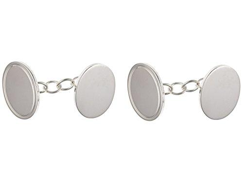Uni enchaîné ovale Boutons de manchette – Argent Sterling 925 – Livré dans une boîte cadeau gratuit ou sac cadeau