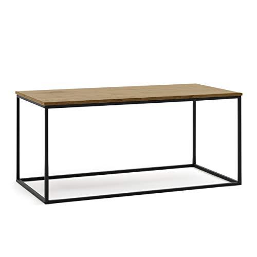 Mc Haus MARA Tavolino da Salotto Rettangolare in Legno e Struttura in Metallo, da Caffè, Stile Contemporaneo, Nero, 100 X 50 X 45 cm