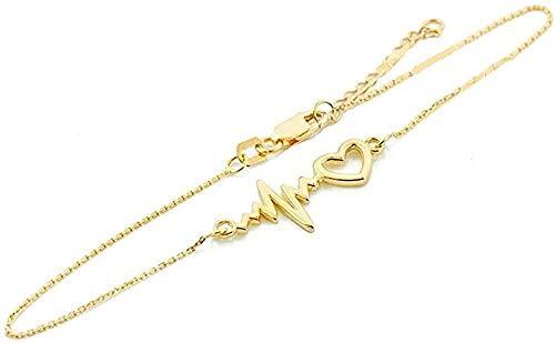 Delicada pulsera de oro amarillo de 14 k con latido del corazón 7.5 ajustable a 8