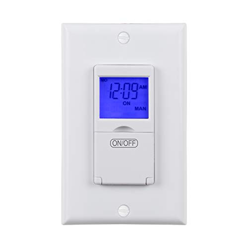 BN-LINK 7 Day Programmable In-Wall Timer Switch for Lights, fans and Motors, Single Pole and 3 Way...