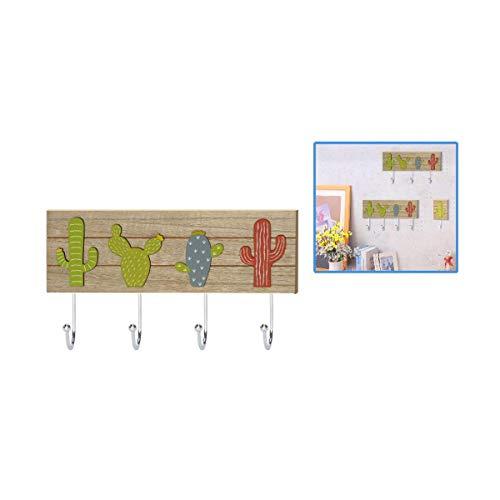 Cisne 2013, S.L. Perchero para Pared de Madera Tallada con 4 colgadores. Dimensiones 36x18cm. Diseño Cactus.