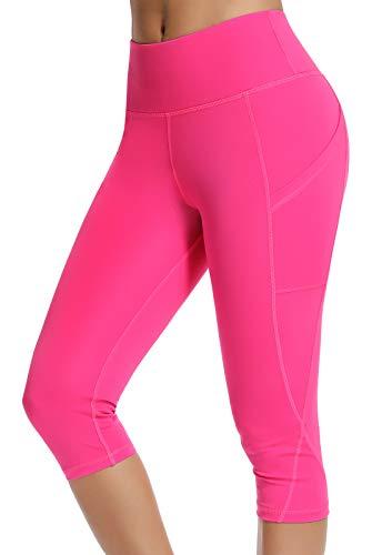 FITTOO Mallas 3/4 Leggings Mujer Pantalones de Yoga Alta Cintura Elásticos y Transpirables Rosa M