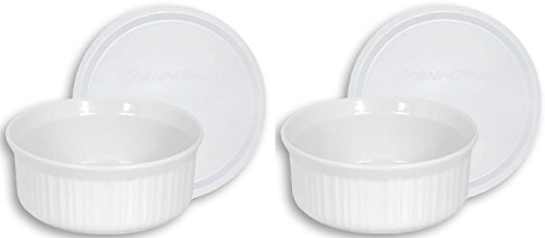 CorningWare French White Pop-Ins 16-Ounce Round Dish with Plastic Cover, Pack of 2 Dishes