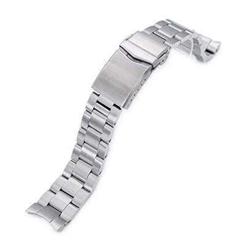 Strapcode 20mm Super 3D Oyster 316L Stainless Steel Watch Bracelet for Seiko Mechanical Automatic SARB033, V-Clasp, Brushed