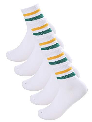 sourcingmap 5 Paar Damen Streifen Muster Baumwolle Atmungsaktiv Crew Socke Gr. 9-11 Weiß Gelb
