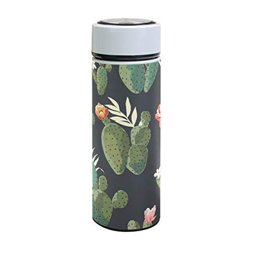 Emoya Botella de agua de acero inoxidable, 500 ml, diseño de cactus, plantas tropicales, botella de agua aislada al vacío, sin BPA, a prueba de fugas, doble pared, boca ancha para bebidas frías y calientes, 17 onzas