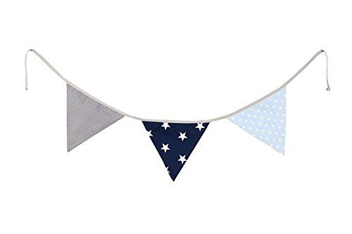 ULLENBOOM ® slinger met vlaggetjes l stoffen slinger: 1,25 m, 3 vlaggetjes l decoratie kinderkamers en babyverjaardagen I blauw lichtblauw grijs