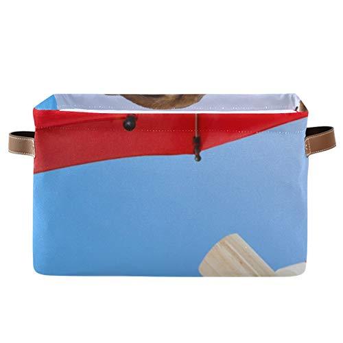 Paquete de 2 contenedores de almacenamiento de tela plegables para el hogar, cesta de cubo para el armario del hogar, cajones de dormitorio, organizadores, tumbona para tomar el sol, sombrilla roja