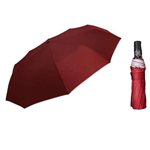 Zehn Knochen 3 faltsamer automatischer Regenschirmgürtel reflektierender Streifen Anti-Wind-Regenschirm kortischer Regenschirmgriff-Rotwein_33 cm