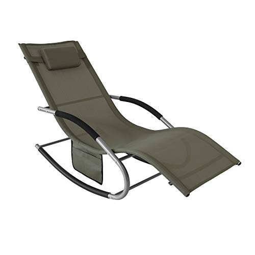 SoBuy OGS28-BR, Outdoor Garden Rocking Chair Relaxing Chair Sun Lounger with Side Bag