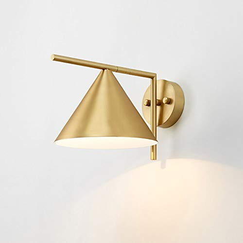 Messing Lampenkap Wandlamp, Moderne Minimalistische LED E27 Warm Licht Decoratieve Lamp, Beste Keuze Voor Nachtkast Gang In De Woonkamer,White light