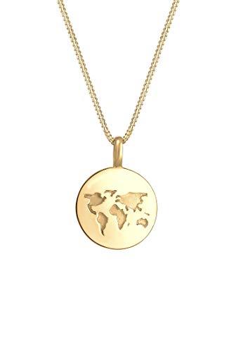 Elli Halskette Damen mit Weltkugel Plättchen Anhänger Wanderlust in 925 Sterling Silber 45 cm Länge
