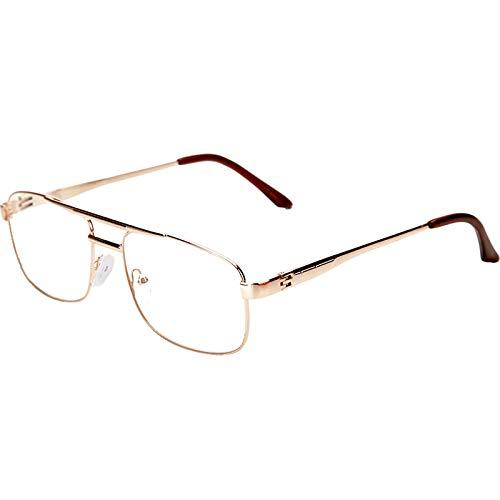 Leesbril HXLQ leesbril van metaal, ultralicht en elegant design, leesbril voor mannen en vrouwen, transparante lenzen, flexibel, goudkleurig, zwart