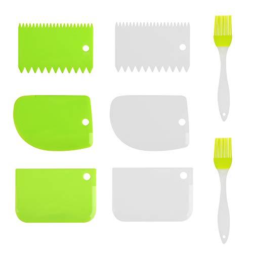 BELIOF 8 PCS Raschietto di Plastica da Cucina Flessibile Raschietto per Pasta Dolce Raschietto da Cucina Forma di Denti con 2 PCS Pennelli in Silicone (Rosa/Bianco/Verde)