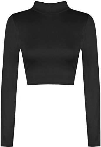 WearAll - Mujeres Manga Larga Stretch Llanura Cuello de la T