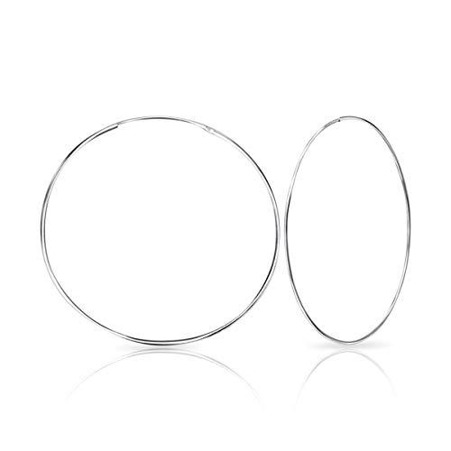 DTPsilver -Damen - Groß Creolen - Ohrringe 925 Sterling Silber - Dicke 1.2 mm - Durchmesser 50 mm