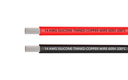 14-Gauge-Elektrokabel 3 Meter [1,5 m Schwarz und 1,3 m Rot] Flexibles 14 AWG-Silikonkabel verzinnter Kupferdraht mit hoher Temperaturbeständigkeit