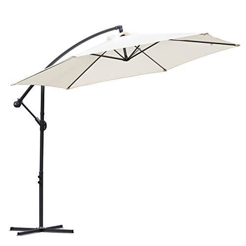 Sekey Ampelschirm 300 cm Sonnenschirm Gartenschirm Kurbelschirm mit Kurbelvorrichtung Sonnenschutz UV50+,Creme
