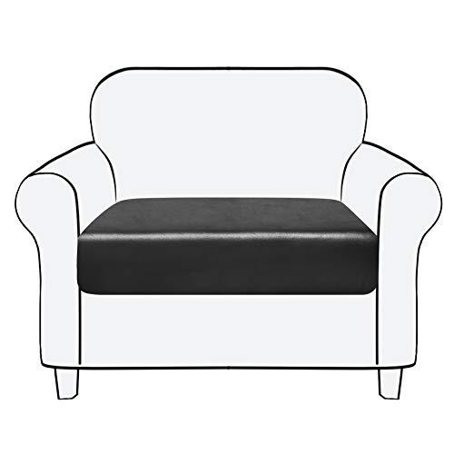 subrtex Sofa Sitzkissenbezug Stretch Sitzkissenschutz Elastischer Kissenbezüge Husse Überzug Bezug für Sofa Sitzkissen (1 Sitzer, Schwarz Leder)