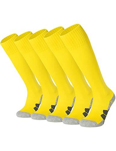 APTESOL Youth Cushion Soccer Socks Knee High Multiple Sizes/Color Team Soprt Socks for Boys Girls Men Women [5-Pack All-Yellow,L]