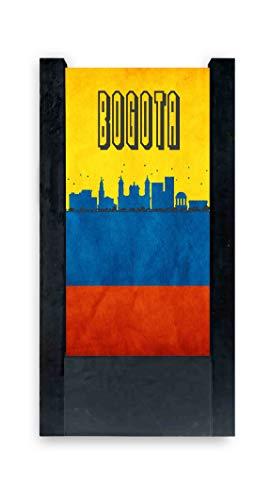 Lámpara de mesa negra con bandera Colombia Bogotá