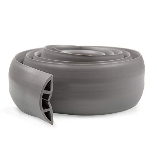 ProTech - Protector de cables para el suelo - Ideal para la casa, oficina, depósitos o conciertos - Fácil de desenrollar - PVC - Gris - 2 metros