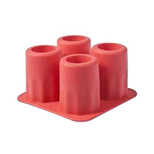 OSJDFD Cubitos de Hielo Forma de 4 Tazas Tiradores de moldes de Silicona Vaso de chupito Molde de Hielo Bandeja de Cubos Summer Bar Party Accesorios para Herramientas de Bebida de Cerveza